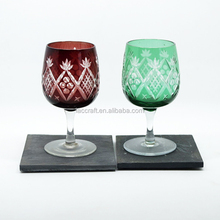 Overlay glass cut to clear stemware glass goblet red wine glasses