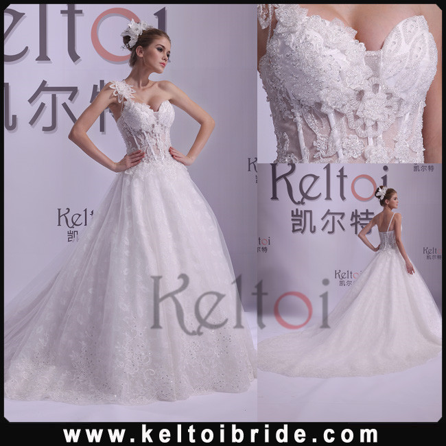 Ball Gown One Shoulder Long Train Tulle Real Photos Wedding Dress 2014