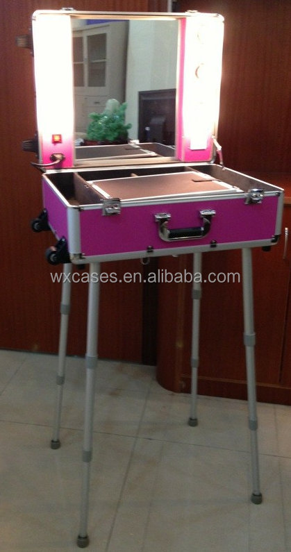 aluminum professional makeup case with lights and legs manufacturer