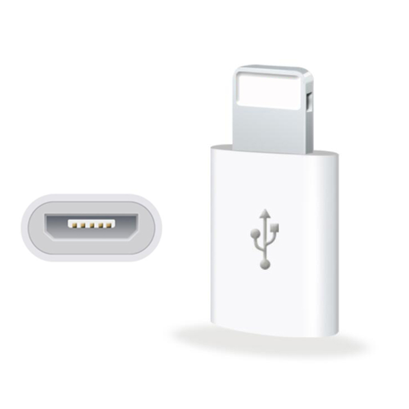 Cheap in Bulk Mini White Micro USB to 8 Pin Data Adapter