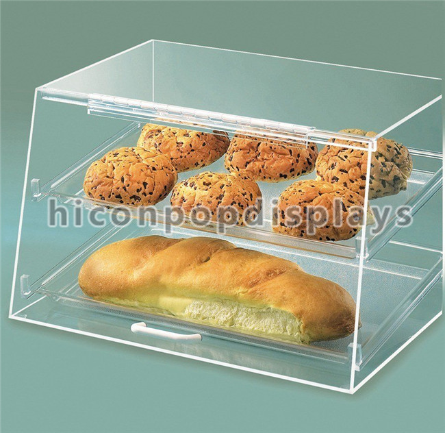 Free Design Food Shop Counter Top Clear Acrylic Bread Display Retail Bakery Showcase Cake Display