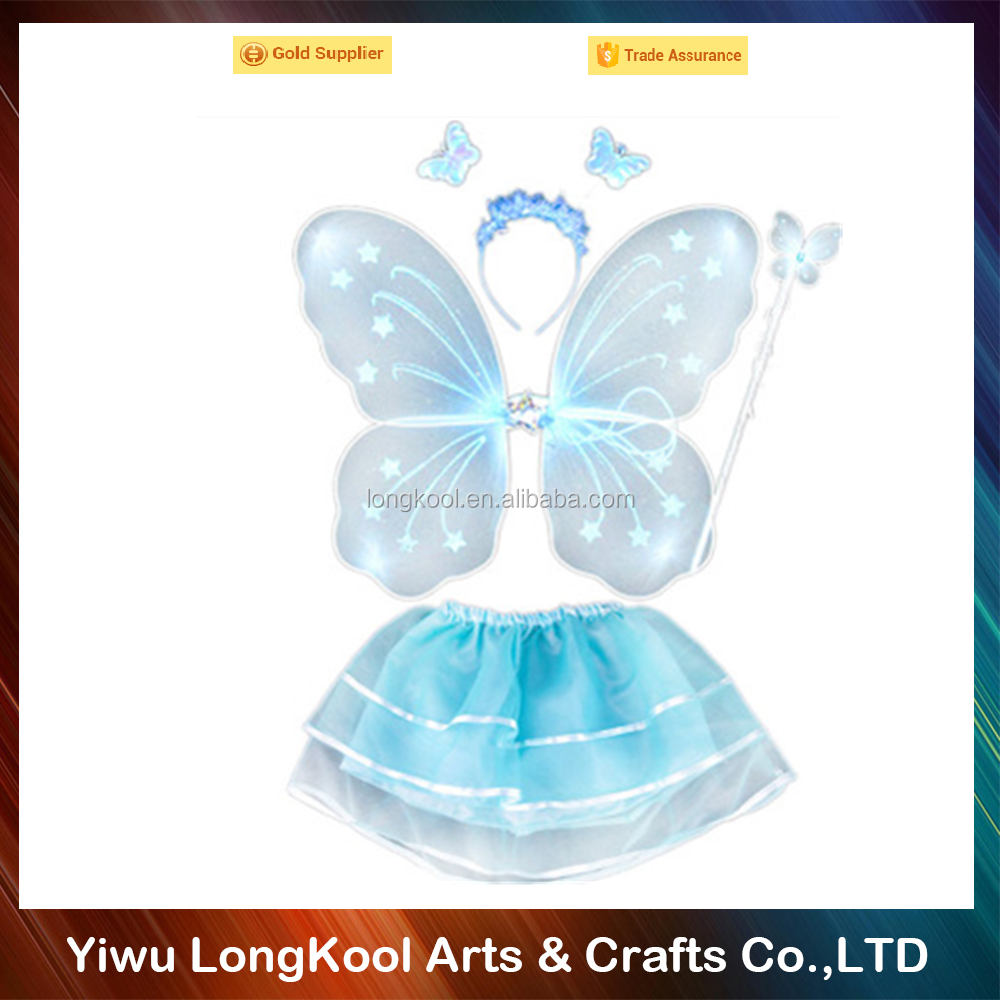 Hot sale high quality kids party decoration fairy wings set with wand and dress light blue butterfly wings costume