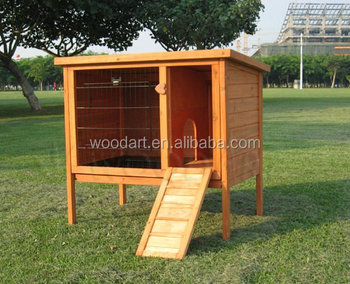 HOT! Solid Wood Flat roofed Rabbit Hutch with liftable door