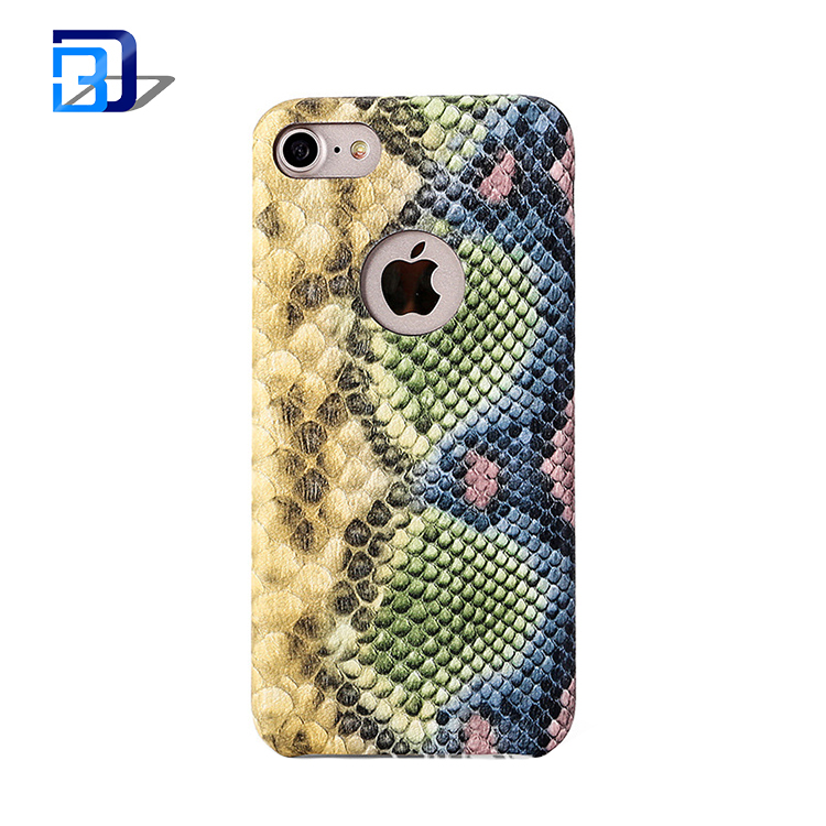 Wholesale low price creative design colorful snake pattern leather cell phone cover case for iphone 7