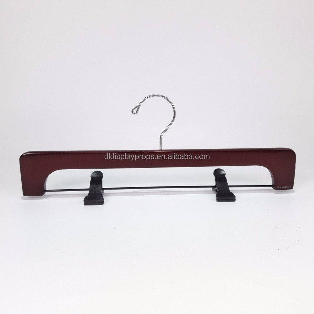 DL768 Custom Fancy wooden pant hanger with black plastic clips lotus wood pant hanger