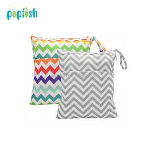 Popfish Multipurpose Hanging Wet Dry Waterproof Bags With Two Zippers For Cloth Diapers