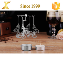 Wholesale hot spinning brass etching silver butterfly candle holder