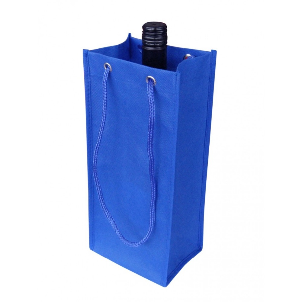 Blue Non woven wine bottle Tote Bag for promotional