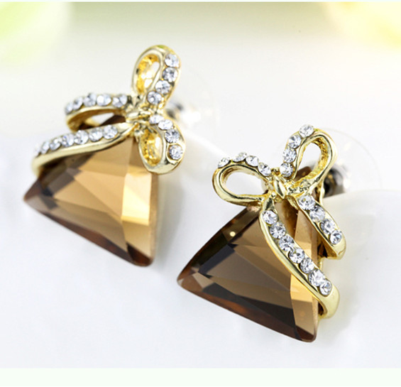 fashion Green crystal earrings for women bijoux triangle statement party jewelry female gift Pendientes