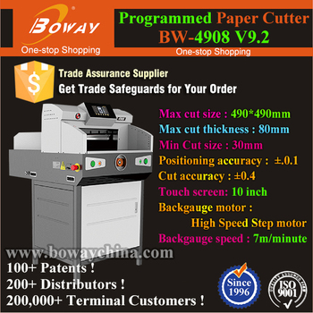 10 inch Touch Screen 490mm Electrical Automatic Programmed Pushing Paper Cutting Machine