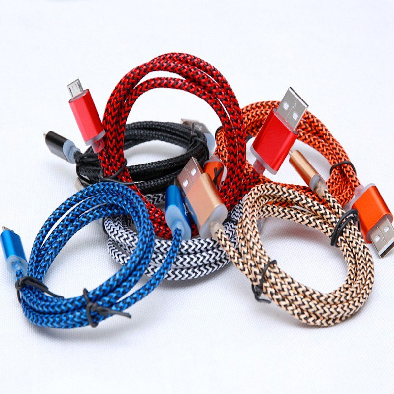 2016 Wholesale nylon braided cell phone usb data charger cable for Samsung smartphones 3ft 6ft