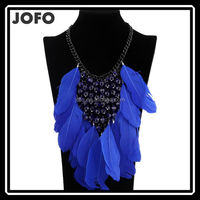New Fashion Vintage Punk Blue Feather Tassel Beads Maxi Women Statement Bib Necklaceants