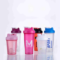 BPA free plastic protein powder shakers water bottles , 400ML 600ML shaker sports plastic water bottles