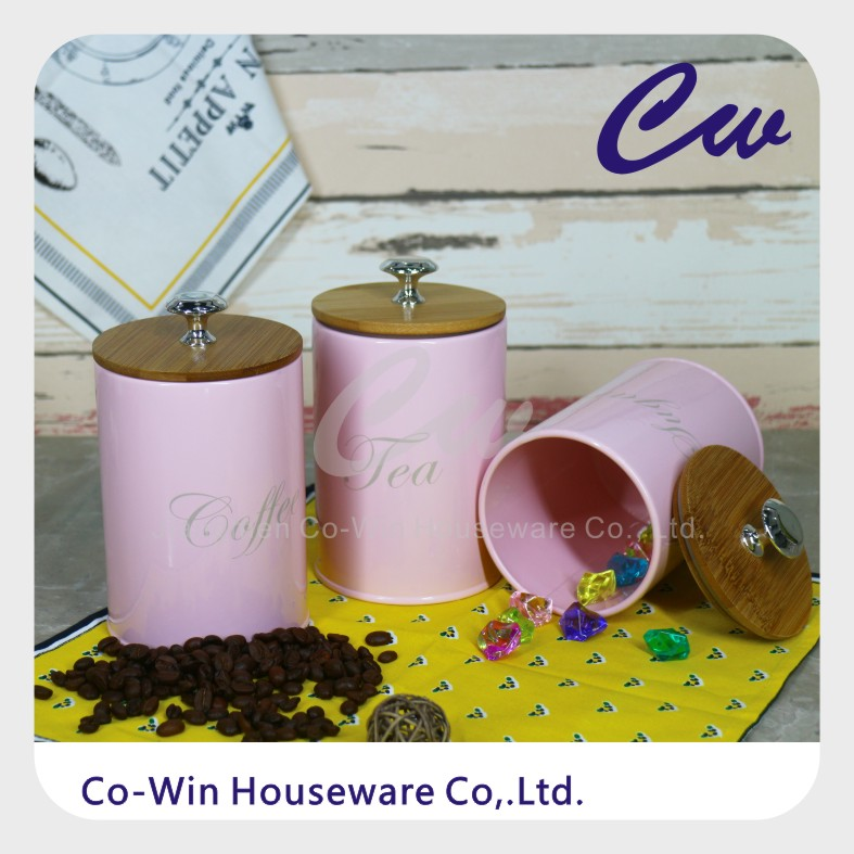 Metal Homeuse Storage Box ,Galvanized Steel Coffee Tea Sugar With Wood Lid And Silicone Sealing Ring Tinplate Canister Jar