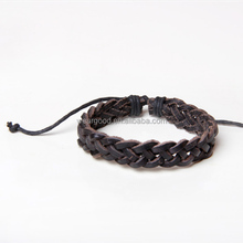 Wholesale men's accessories new fashion black real leather braided bracelets