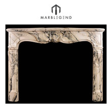 French Louis style Italian chimneypiece pavonazzo marble fireplace mantel