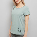 Latest design girls top casual cut out neck distressed blank high quality T-shirt