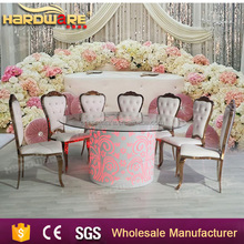 luxury stainless steel round wedding table with led light