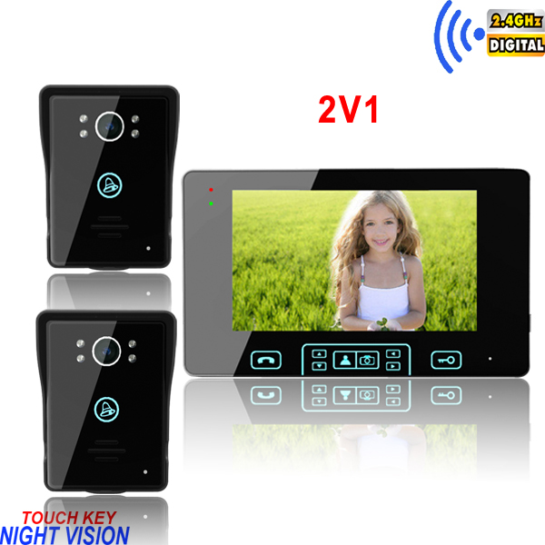 "2014 newest Touch key 2.4GHz wireless 7""video intercom phone/videointercoms doorphone rain"