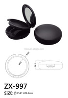 Wholesale Round black plastic custom empty makeup cosmetic packaging/compact powder case/compact powder packaging