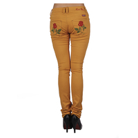 New Pattern Jeans Pants Back Pocket Design with Embroidered Flower Stretch Skinny Jeans Women With Wholesale Price