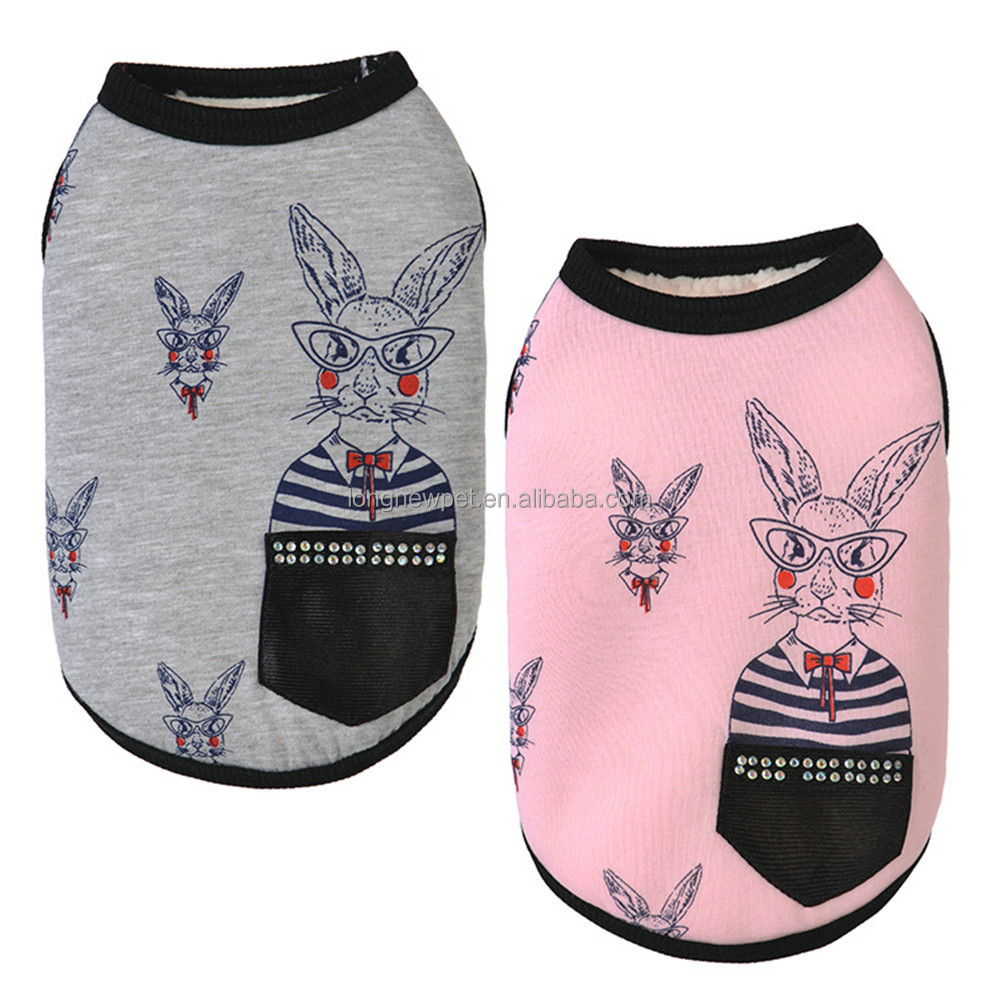 Cute Rabbit Pattern Winter Shirts for Pet Dog Pomeranian Clothes