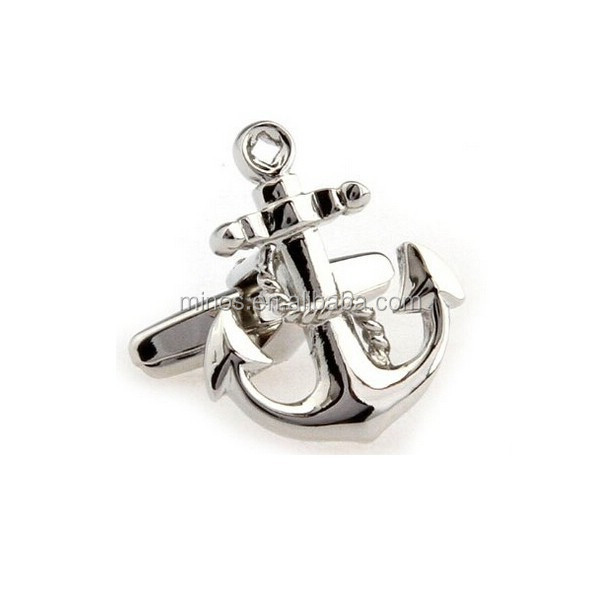 Fisherman Silver Anchor with Rope Novelty Cufflinks