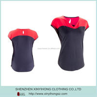 Fitness Woman Contrast Color V Neck Dry Fit Spandex Tennis T Shirt