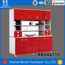 Kitchen furniture RBSA8315 cheap MDF five door kitchen cupboard red color high quality particle board kitchen unit