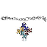 Silver Tone Autism Color Crystal Autism Awareness Puzzle Piece Charm Bracelets,ECO-friendly Charm Bracelets