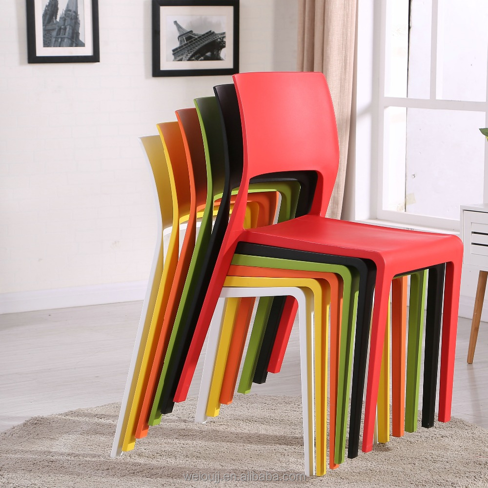 cheap stackable bright color plastic restaurant chair