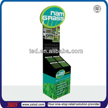 TSD-C745 custom retail shop cardboard display stand for fake grass,carpet sample display stand,synthetic grass display rack