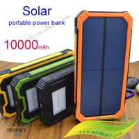 Huge capacity portable phone charger 10000mah led torch solar power bank for traveling