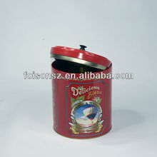 custom made printing with airtight double layer lid round tin can big coffee tin box
