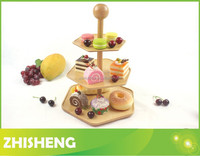 CT-W02 3-tiered wood serving tray, wood cake holder, desserts plate