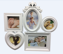 Multi frame heart collage 5-Opg collage gallery white happy family tree photo frame picture frame