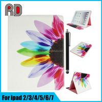 Factory Supply Beautiful Flower Painted Card Holder Leather Flip Stand Cover Case for Ipad Mini 1/2/3