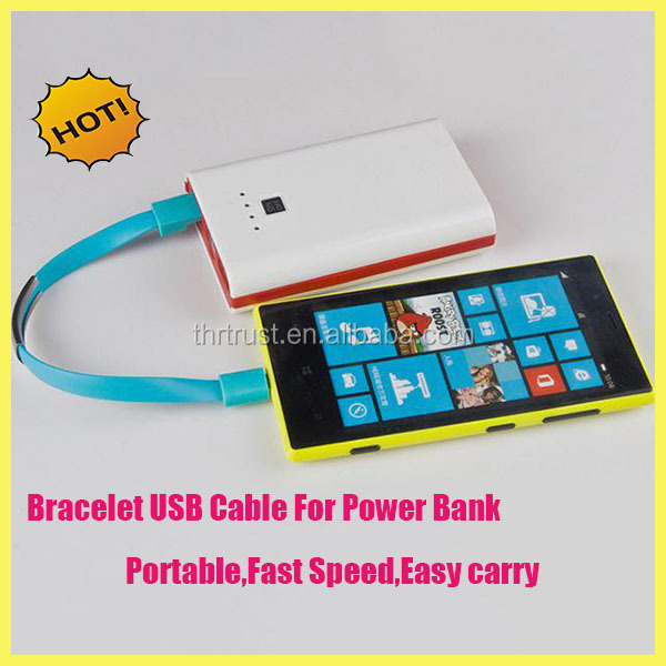 New Arrival short 21cm Bracelet shape Micro USB cable for power bank