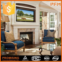 PFM Chinese marble and travertine fireplace kachelofen tile stove