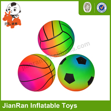 Colorful rainbow ball Custom OEM bouncy ball different size plastic beach baskets