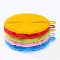 Round Shape Kitchen Silicone Dish Washing Sponge Fruit Vegetable Cleaning Dishwashing Brush