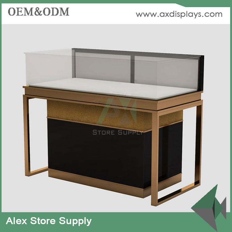 Factory outlet MDF wooden+glass jewellery display center table