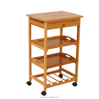 Natural Bamboo kitchen trolley bamboo trolley cart bamboo hotel serving trolley