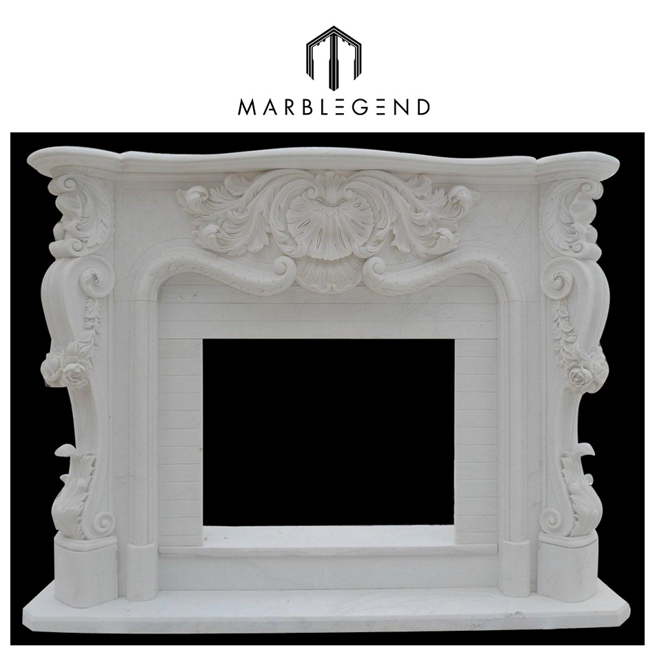 natural well polished hunan white marble fireplace for sale