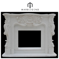 natural well polished hunan white marble fireplace