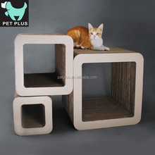 pet products Combined corrugated cat toy building 3 blocks with catnip