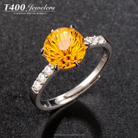 T400 jewelry 925 Sterling Sliver Rings Yellow Crystal stone