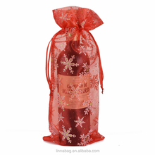 Wholesale Custom Sheer Drawstring Christmas Tree Storage Gift Snowflake Organza Wine Bottle Bags
