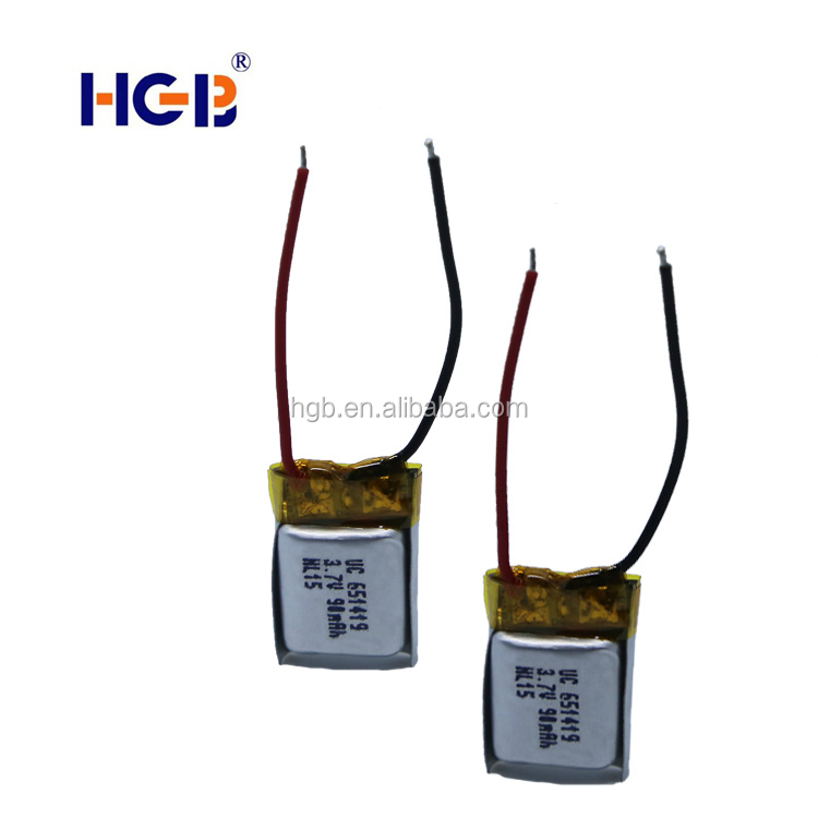 small size special customized lithium battery 3.7V rechargeable lithium ion battery HGB651419 90mAh for UAV/ drone /RC