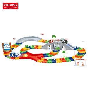 Zhorya 142 pcs top kids funny colorful plastic slot racing track car toy with little part and mini battery operated car